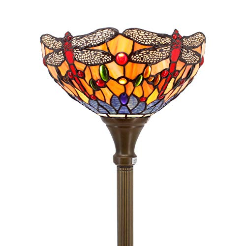 Tiffany Style Torchiere Light Floor Standing Lamp Wide 12 Tall 66 Inch Orange Blue Stained Glass Crystal Bead Dragonfly Lampshade for Living Room Bedroom Antique Table Set S168 WERFACTORY
