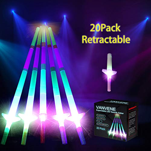 VANVENE Extandable Light Up Swords LED Laser Sabers Glow in Dark [20 Pack] Bulk Wholesal, 4-Section 5 Colors, Mini Colorful Glow Sticks, Flashing Neon Party Favors Supplies - - Batteries Included