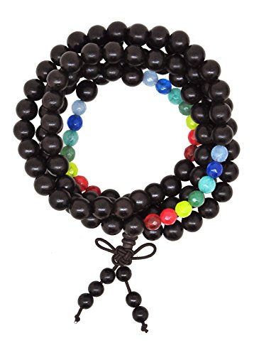 Unisex Tibetan Zen Buddhist Reiki 108 7 Chakra Wood Prayer Beads Mala Bracelet Necklace for Women Men (Ebony)
