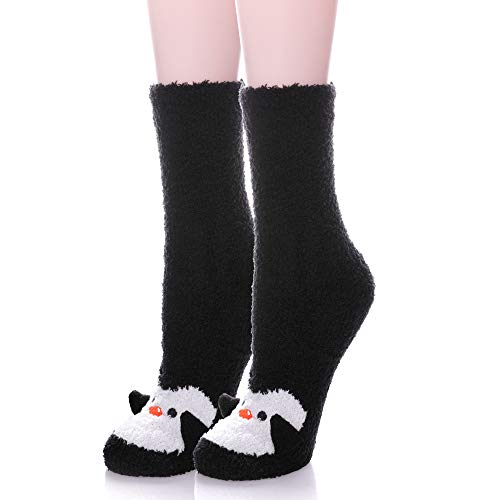 - LANLEO Womens Girls Soft Fuzzy 3D Cute Animal Sleeping Winter Warm Slipper Socks 1 Pairs Black Penguin