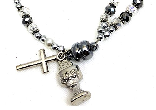Buy silver dangle rosary bracelet