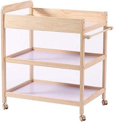 赤ちゃんおむつ交換台 赤ちゃんは、赤ちゃんが木材保存スペースストレージデスクを移動する幼児用キャスターポータブルバスオーガナイザーを用いたテーブルドレッサー看護ステーションを変更し、曲げオーバーなしで赤ちゃんの世話のために表小ベッドを変更します (Size : 80X58X100Cm)