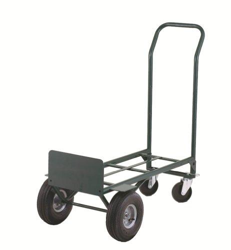 "Harper Trucks 700 lb Capacity Super-Steel Convertible Hand Truck, Dual Purpose 2 Wheel Dolly and 4 Wheel Cart with 10"" Pneumatic Wheels"