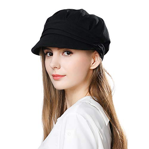 Women's Classic Visor Beret Newsboy Cap Cabbie Summer Gatsby Adjustable Cozy Black Hat