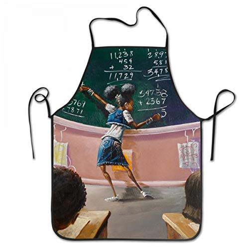 SARA NELL Apron African American Student Afro Girl Lock Edge Waterproof Durable String Adjustable Easy Care Cooking Apron Kitchen Apron for Women Men Chef ()