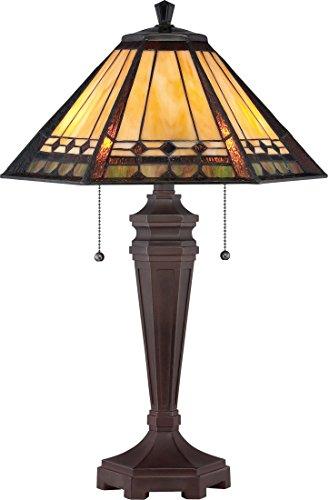 (Quoizel TF1135T Arden Tiffany Table Lamp, 2-Light, 120 Watts, Russet (24