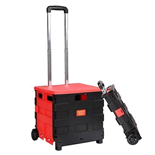 Plastic Folding Two-Wheeled Trolley Hand Cart Heavy Duty Shopping Travel Handcart by Qenci