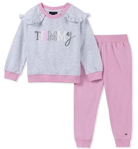 Tommy Hilfiger Baby Girls 2 Pieces Jog Set, Heather Gray/Lilac Sachet, 18M