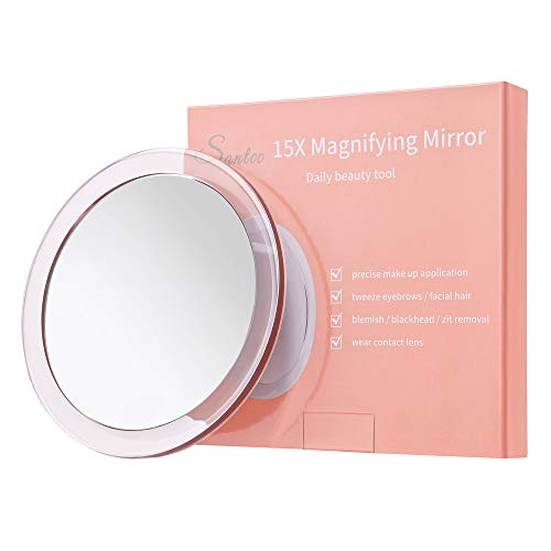 15X Magnifying Mirror – with 3 Mounting Suction Cups – Used for Precise Makeup – Eyebrows/Tweezing – Blackhead/Blemish…