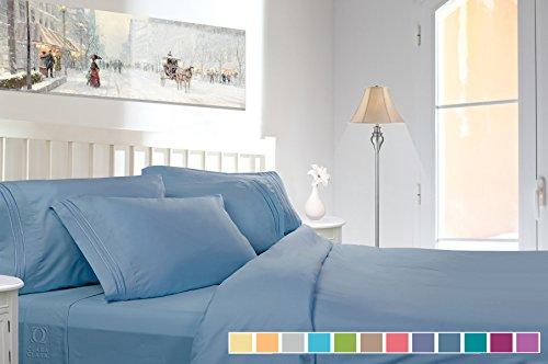 Clara Clark Premier 1800 Collection Deluxe Microfiber 3-Line Bed Sheet Set, Queen Size, Blue Heaven