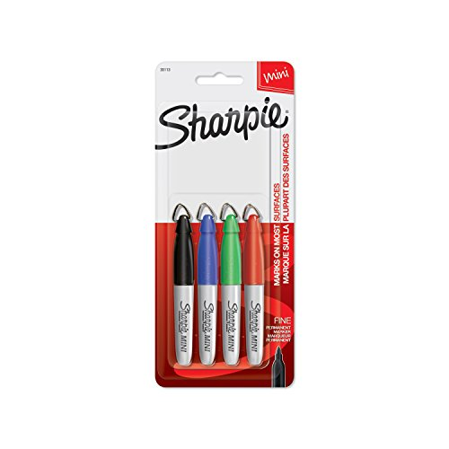 Sharpie Mini Permanent Markers, Fine Point, Assorted Colors, 4 Count - 35113PP