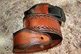 Leather Guitar Strap - Adjustable, hand tooled - Made in USA