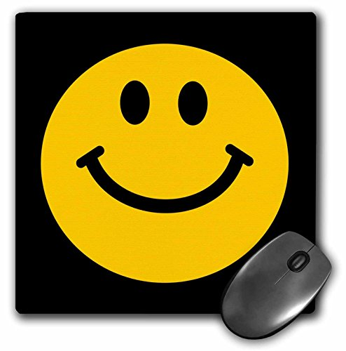 3dRose LLC 8 x 8 x 0.25 Inches Yellow Smiley Face Cute Traditional Happy Smile 1960s Hippie Style Smiling on Black Pattern Mouse Pad (mp_76654_1) - Pictures Of Hippies In The 60s