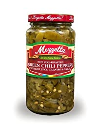 Mezzetta Hot Fire-Roasted Green Chili Peppers 16 Oz (Pack of 2)