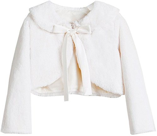 Big Girls Long Sleeve Ribbon Faux Winter Bolero Jacket Knit Sweater (35SK) Ivory - Jacket Bolero Embroidered