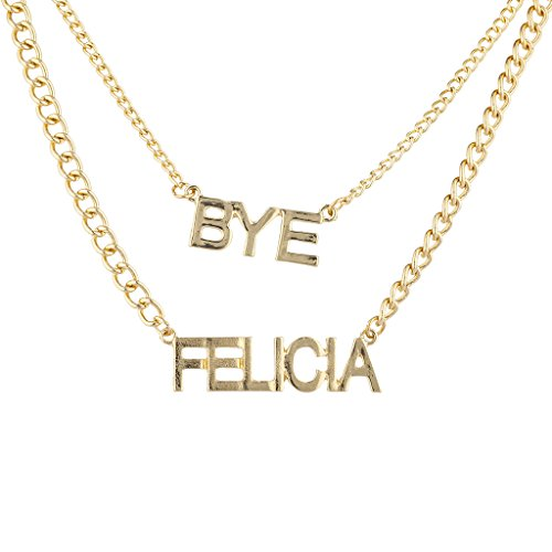 Lux Accessories Trendy Goldtone Bye Felicia Layered Verbiage Name Plate - Felicia Gold