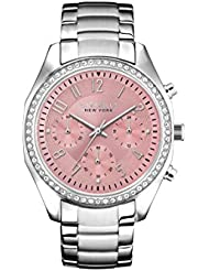 Caravelle New York Womens 43L191 Swarvoski Crystal Stainless Steel Watch