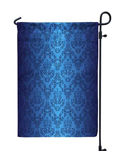 Portfolio Wallpaper - KJONG Navy-Blue Garden Flag,12x18 inch Seasonal Flag Dark Blue Wallpaper Style Retro Portfolio Weatherproof Double Sided Outdoor Flags for Yard Patio House Decorations