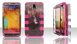 Samsung Note 3 N9000 N9002 N9005 Hybrid Defender Impact Case Cover Snap-On Camo Deer Buck Grass Hunting/ Hot Pink Gel