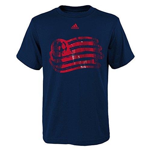Outerstuff MLS New England Revolution Boys -War Paint Logo Short Sleeve Tee, Dark Navy, Large (14-16)