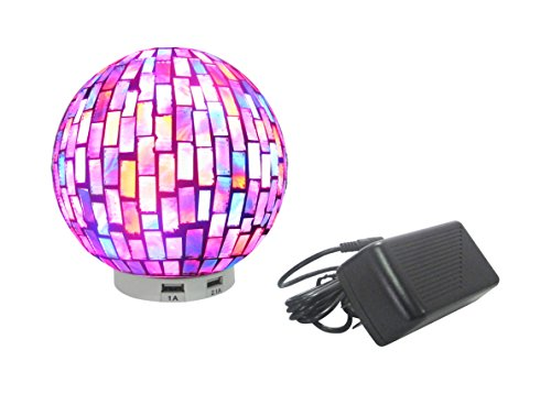 U L.IDEA Mosaic Globe Zen LED Table Lamp with USB Port, 5.9