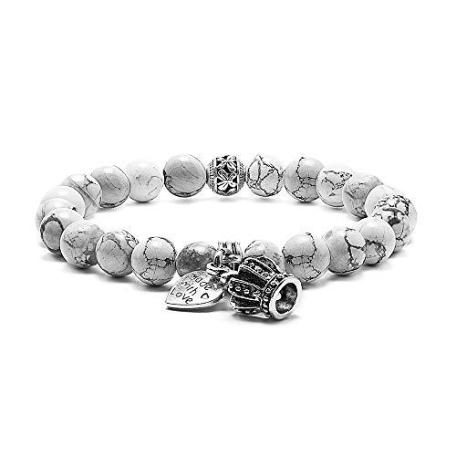 Natural Stone Bead Bracelets - 8mm Natural White Howlite Bead Bracelets, Men Women Stress Relief Yoga Beads Elastic Semi-Precious Stone CZ Crown Queen Bracelet Bangles