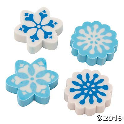Fun Express 72 Pc Winter Snowflake Erasers - 1 inch - Snowflakes Theme Party Favors and Stocking Stuffers