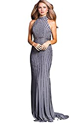 Women's Gunmetal Rhinestone Striped Long Evening Gown