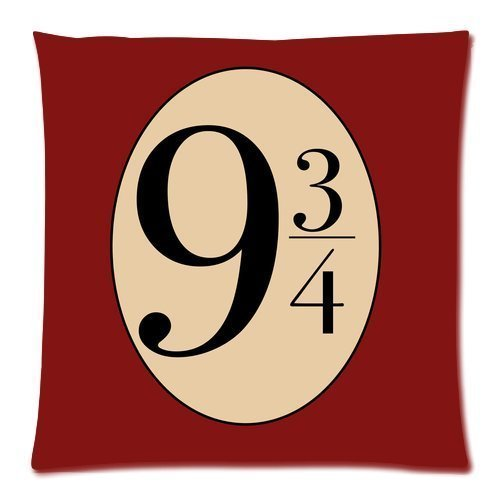 Decorbox Harry Potter Hogwarts 9 and 3/4 Station Fonts Throw Square Pillow Case 18x18 Inches Soft Cotton Polyester Body Throw Pillow Cases Home Decor Coshion cover 2 sides (Red)