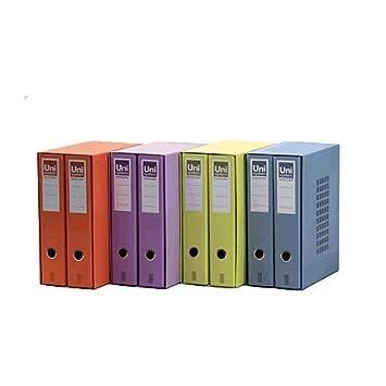 Uni-System 9190701 - Caja de 2 archivadores, tipo folio, lila, 1 unidad: Amazon.es: Oficina y papelería