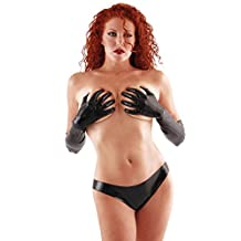 Chlorinated Latex Mid Gloves (Elbow Length) Fetish Black