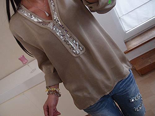 Manches Blouse Kaki Printemps Slim Casual Tee Col Mode Tops Automne Pulls Jumpers Paillettes Femmes et Longues Onlyoustyle Shirt T pissure Hauts V R8Bxw4ARq