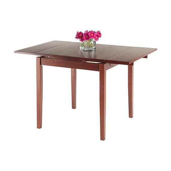 """Winsome Pulman Dining Table, Walnut - Overall extended size is 48"""" W x 29. 9"""" D x 29. 2"""" H. Compact size is 29. 9"""" W x 29. 9"""" D x 29. 2"""" H Made of solid wood in Walnut Finish Assembly required - kitchen-dining-room-furniture, kitchen-dining-room, kitchen-dining-room-tables - 41jviWshVZL. SS570  -"""