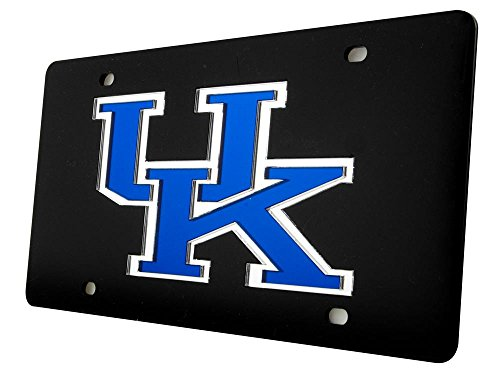 Kentucky Wildcats Blue Logo on Black Mirrored Acrylic Inlaid License Plate