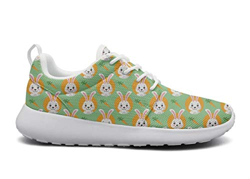 for Women Ultra Lightweight Breathable Mesh Athleisure Sneakers Cute Easter Bunnies Wth Carrots Green Fashion Walking Shoes -