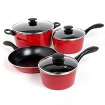 Sunbeam 91503.07 Armington 7-Piece Cookware Set, Red