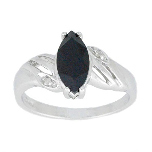 Natural Black Onyx & Diamond Marquise Ring .925 Sterling Silver Rhodium - Onyx Ring Blk