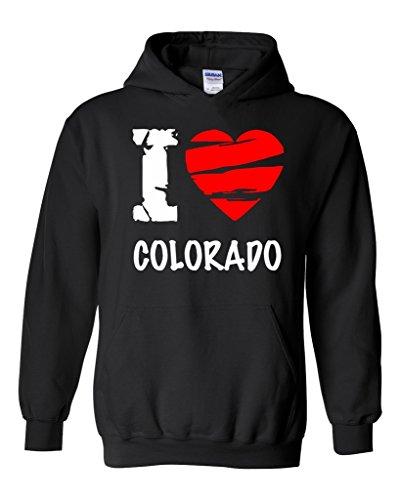 Artix I Love Colorado - Most Popular State Series Unisex Hoodie Sweatshirt X-Large Black