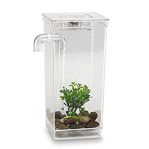 Toogoo LED Mini Fish Tank Aquarium Self Cleaning Fish Tank Bowl Convenient Desk Aquarium for Office Home Decoration Pet Accessories by Toogoo (Image #1)