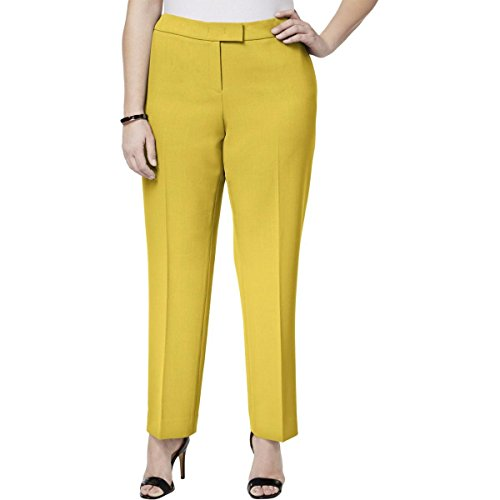 Anne Klein Womens Plus Ankle Formal Straight Leg Pants Yellow ()