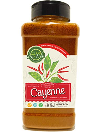 Ground Cayenne Pepper Powder | 35.000 Heat Units | 16oz / 1 Pound - 453 g - Bulk Spice with Shaker Top | Red Pepper Ground | 100% Natural | Premium Grade, Freshly Packed (Pepper Red Cayenne)