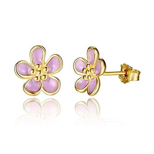 (Romantic 925 Sterling Silver Cherry Blossom Stud Earrings, Purple Enamel Earrings for Women Fine Jewelry PAS456)