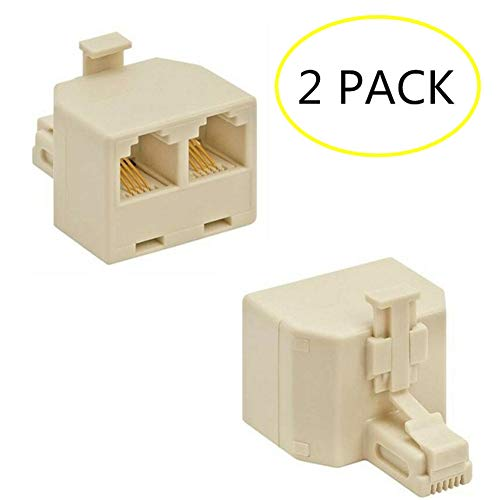 LinaLife 2pcs Phone Line 1 to 2 Dual RJ11 Jack Modular Telephone Duplex Splitter Adapter Duplex Jack/Double Phone Jack Ivory Landline Telephone Accessory