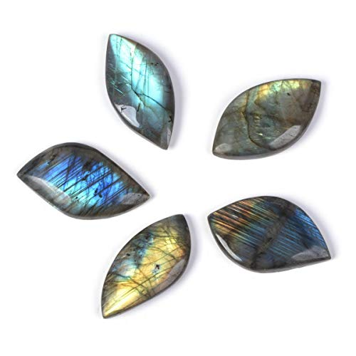 Natural Labradorite Gemstone Leaf Shaped Cab Cabochon Jewelry Craft DIY Kit (Pack of 5) Large