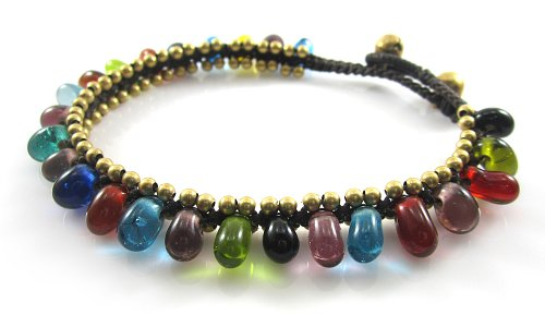 MGD, Multicolor Glass Beads with Golden Beads and Brass Bell Anklet. Beautiful Handmade Anklet Made From Wax Cord Fashion Jewelry for Women, Teens and…