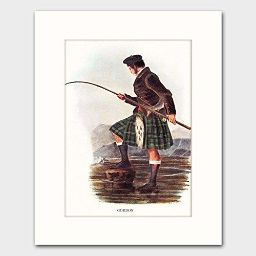 Gordon Clan, Highlands Dress Art w/Mat (Scottish Fly Fishing, Surname Artwork, Family Name Wall Decor) Matted Print