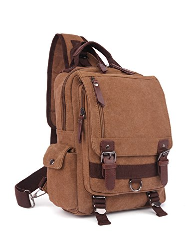 Canvas Cross Body Messenger Bag Vintage Shoulder Backpack for Travel,Hiking,School,Outdoor Activities