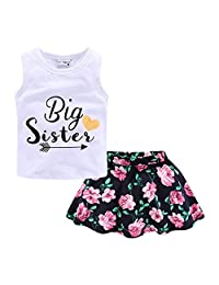 Mud Kingdom Girls Outfits Summer Holiday Floral Tank Tops and Skirts Clothes Sets Chiffon
