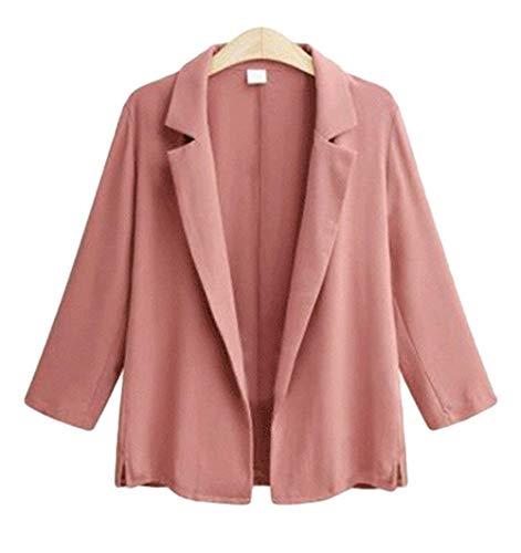 Marca Lunga Pink Giacca Mode Bavero Moda Sciolto Giovane Primaverile Tailleur Manica Donna Prodotto Cappotto Plus Business Elegante Autunno Puro Casual Blazer Giacche Sudore Da Di Colore 0Ix4qPz