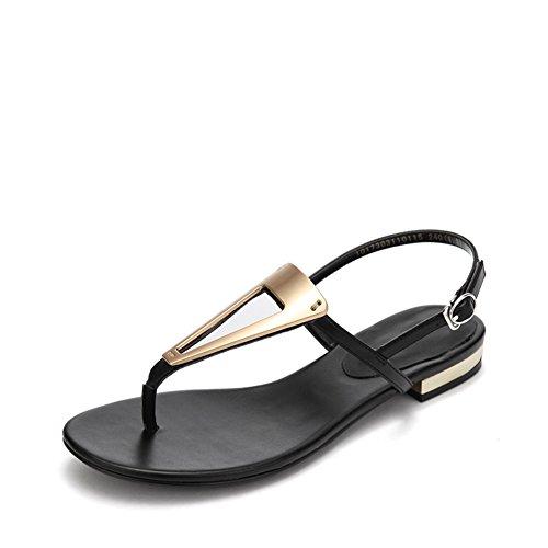 Frauen Mit Niedrigem Metall-trim Und Womens Shoes,Einfaches Wort Schnalle Thong Sandal A